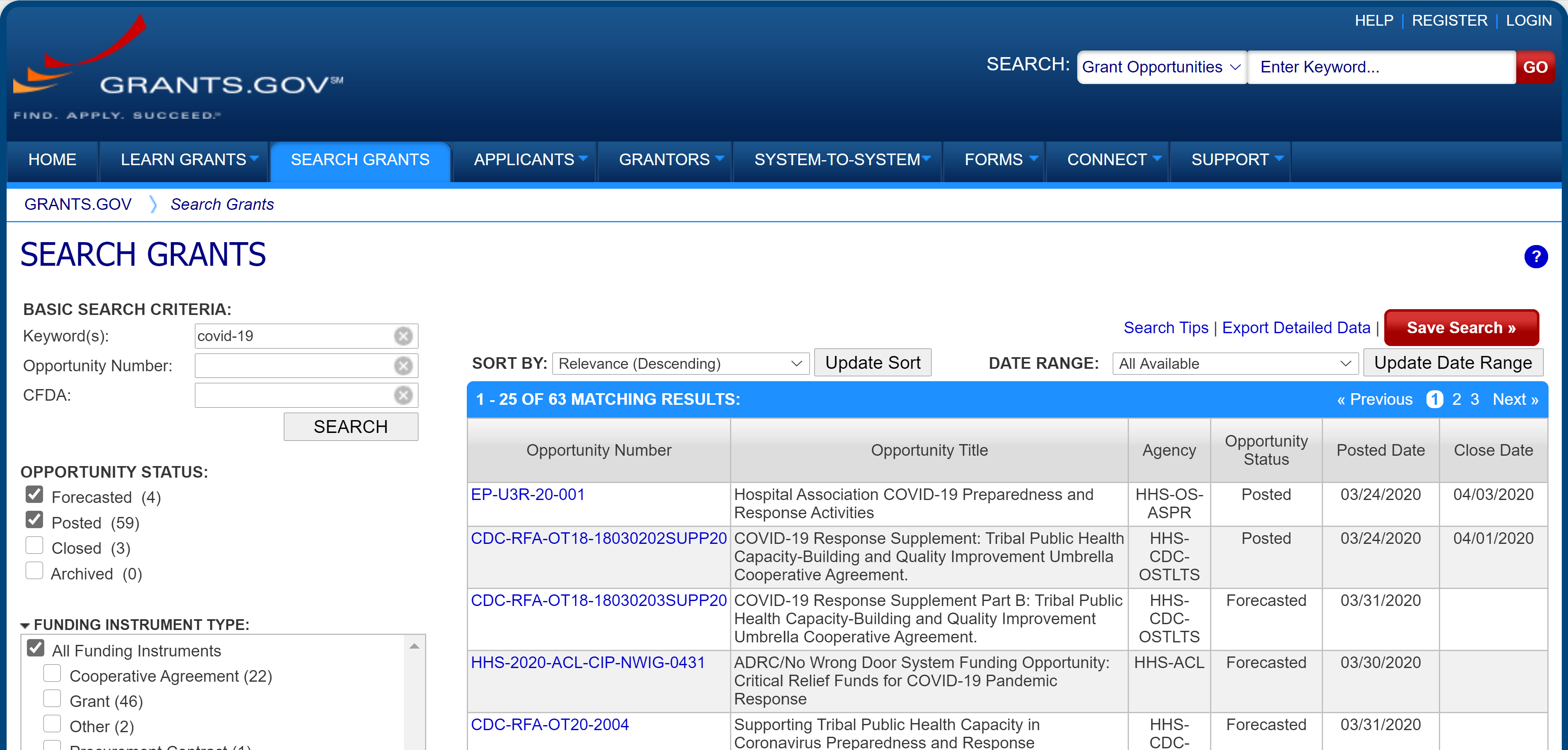 "Screenshot of a grants.gov search for ""COVID-19"""